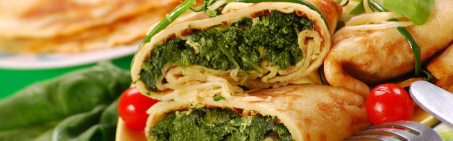 Pannenkoek gevuld met spinaziesalade proteinedieet Proday